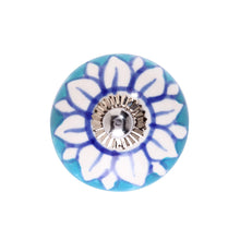 Load image into Gallery viewer, OPEN furniture knob blue flower