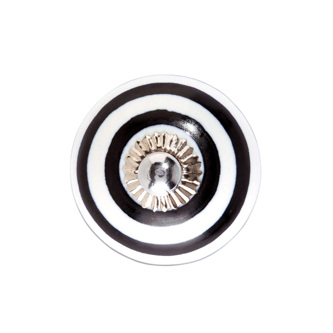 OPEN furniture knob stripes black/white