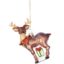 Load image into Gallery viewer, HANG ON deer with bells 14cm, glass