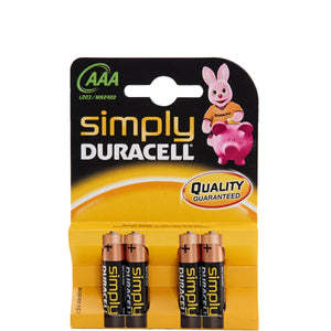 DURACELL batteries set of 4pcs AAA