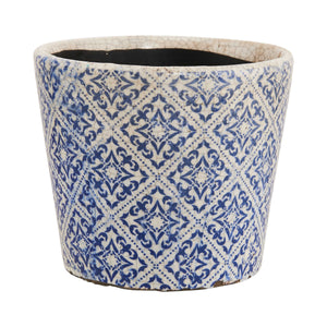 EVERGREEN flower pot Ø14cm blue/white