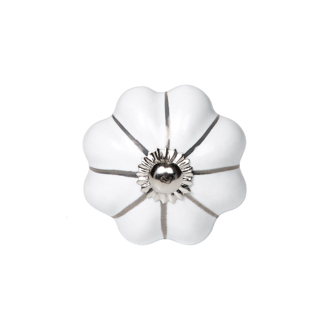 OPEN furniture knob white,silver stripes