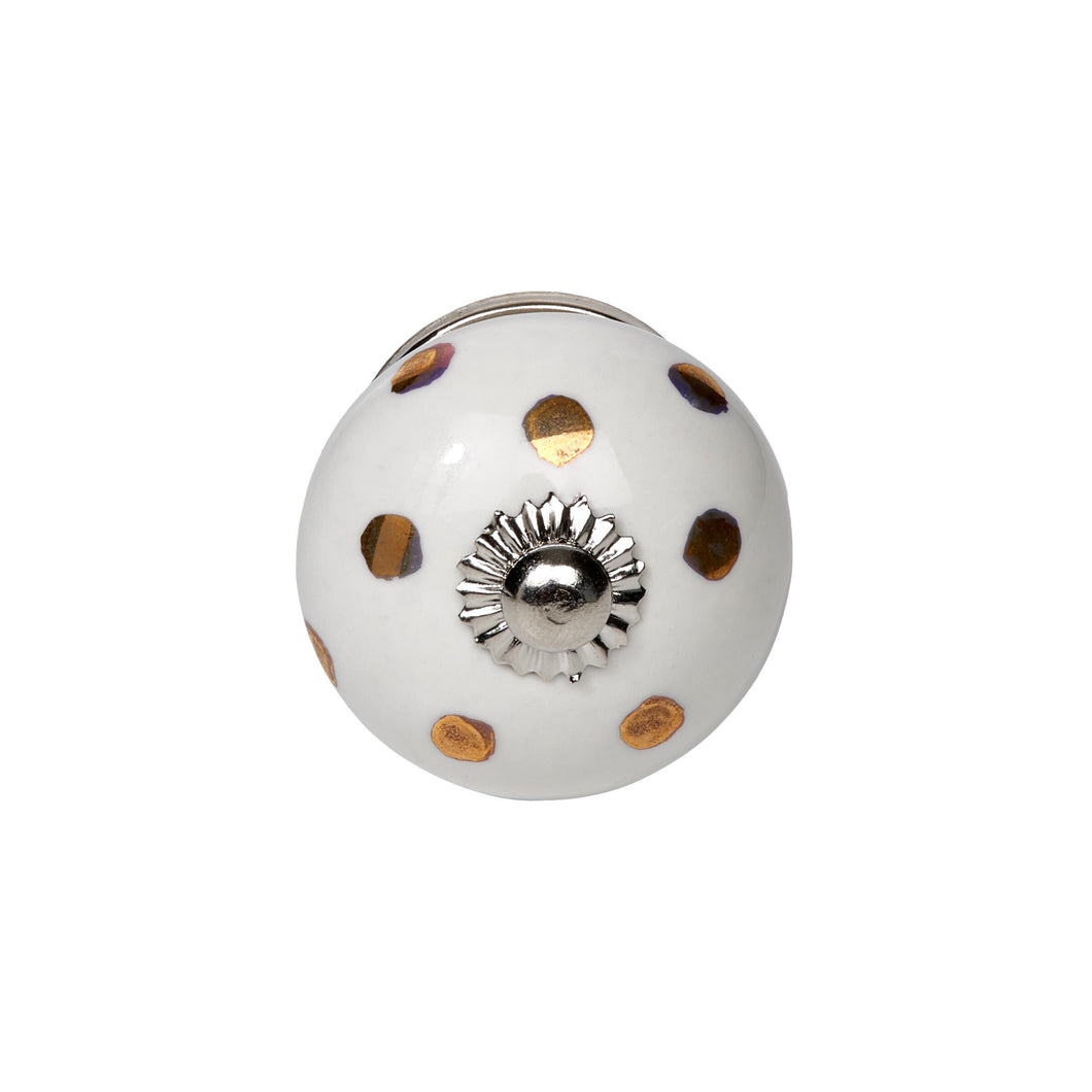 OPEN furniture knob white,golden stripes
