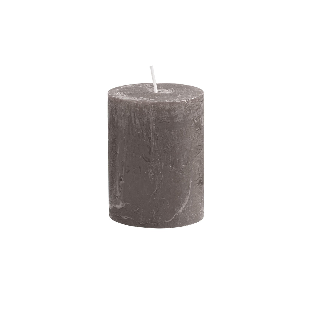 RUSTIC pillar candle, H9cm, taupe