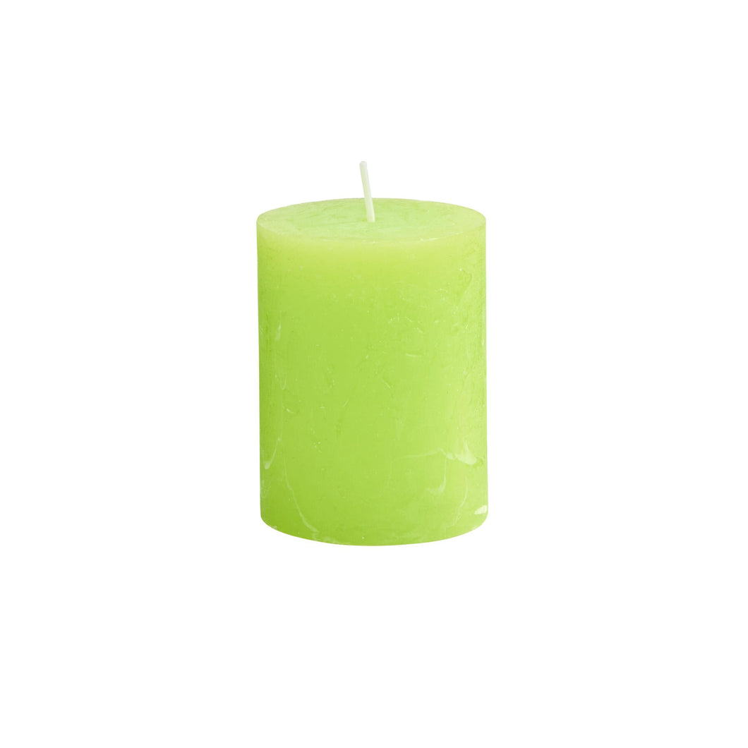 RUSTIC pillar candle, H9cm, lime