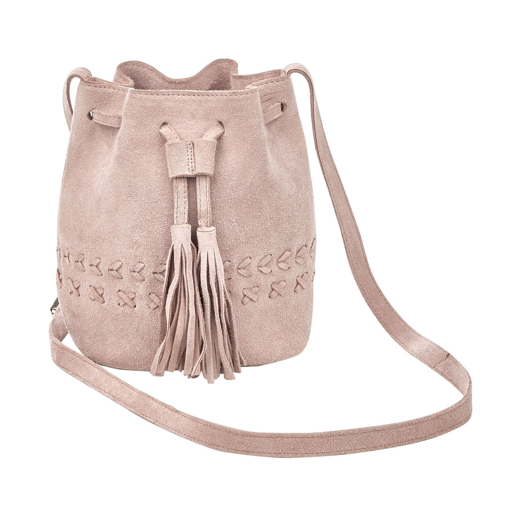 BOUTIQUE bucket bag suede lt pink