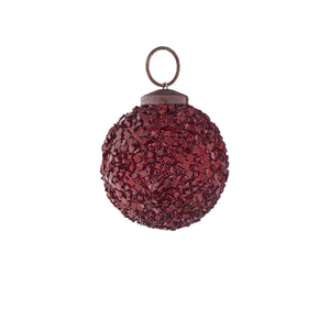 HANG ON christmas bauble 5cm red crackle