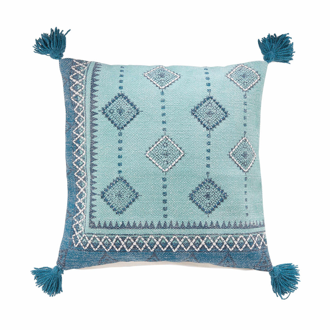 FREE SPIRIT cushion,blue,tassels 50x50cm