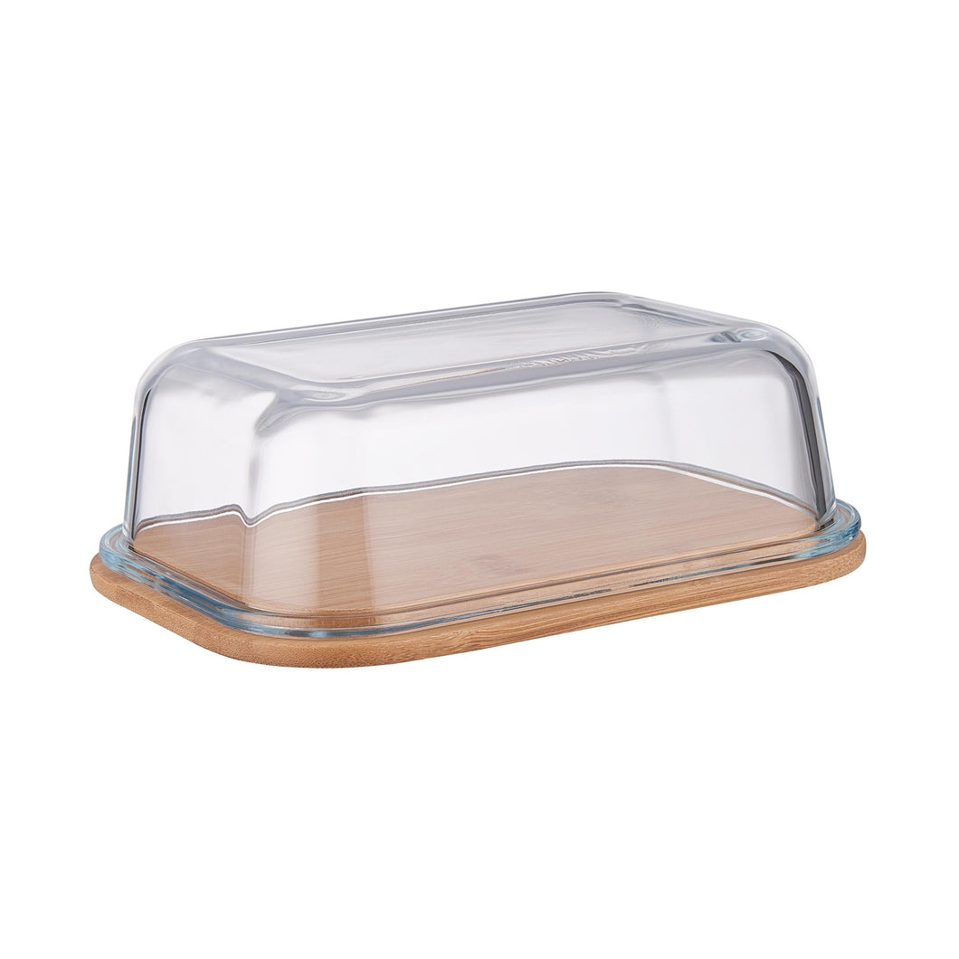BAMBOO butter dish with glass lid