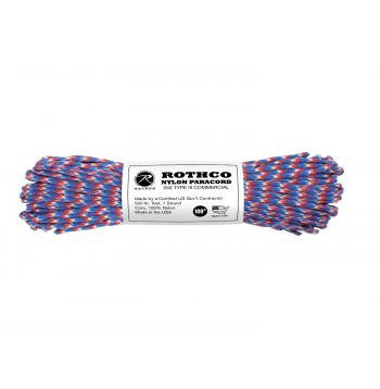 USA Made 550 Type III Commercial Paracord- 100 Feet- RED-WHITE-BLUE CAMO