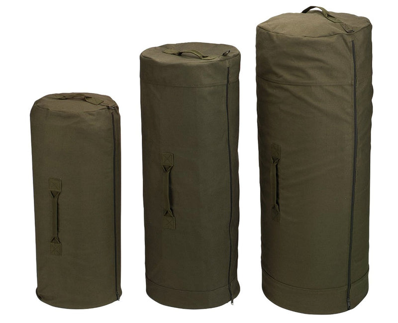 Side Zipper Canvas Duffel Bags- Black or Olive Drab