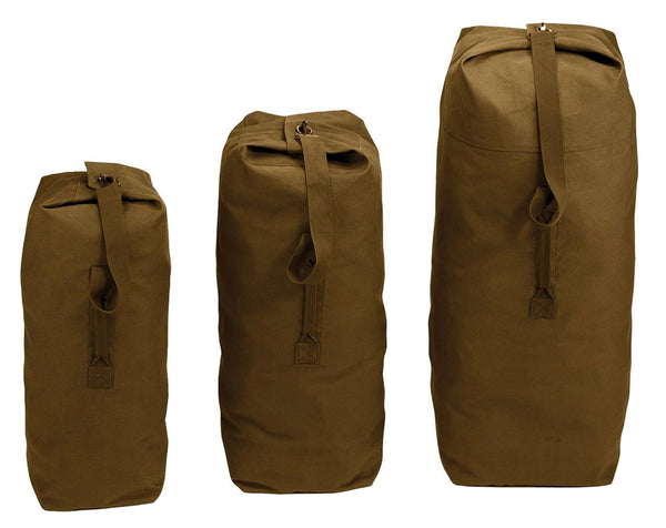 Top Load Canvas Duffle Bags- Black or Olive Drab