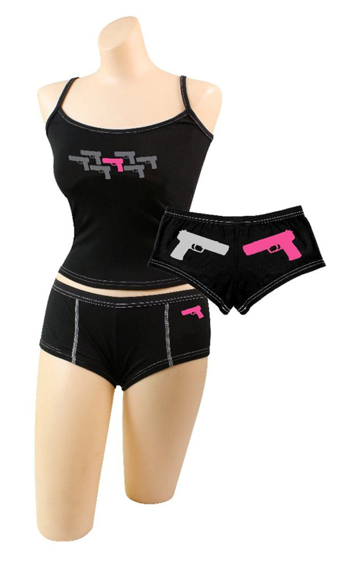 "Women's ""Pink Guns"" Shorts & Top"
