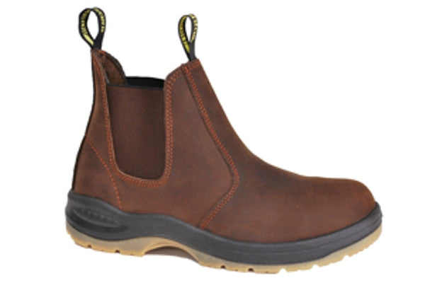 "Work Zone 6"" Pull on Work Boot - Steel Toe- Brown"