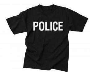Police Black Official Issue Double Sided Raid  Short Sleeve Tee Shirt