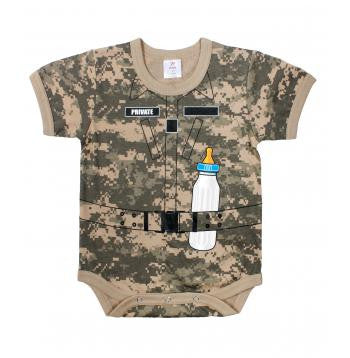 Infant One Piece Bodysuit- A.C.U. Camouflage with Bottle.