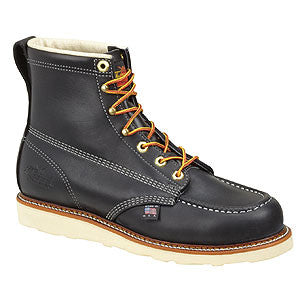 "Thorogood 6"" Black Moc Toe Work Boot-USA Made- Safety Toe- 804-6201"