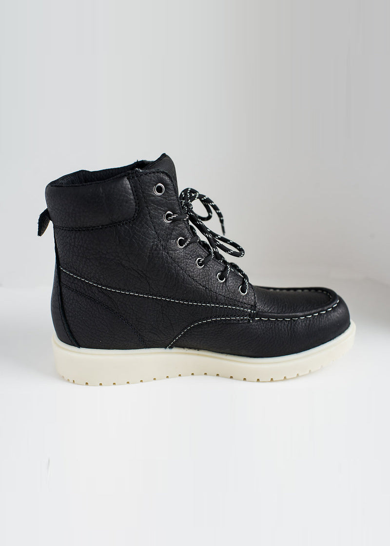"LIBERTY GARY: 6"" LACE-UP BOOT- JET BLACK WHITE SOLE"