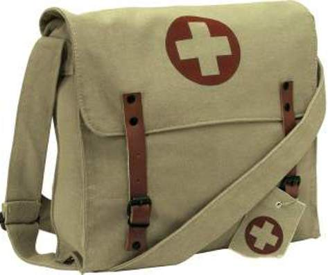 Vintage Medic Bag with Red Cross