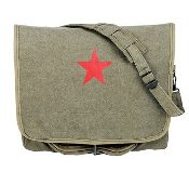 Olive Drab Messenger Bag With Red Star