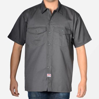 Ben Davis NEW Short Sleeved Solid Button-Up- Charcoal
