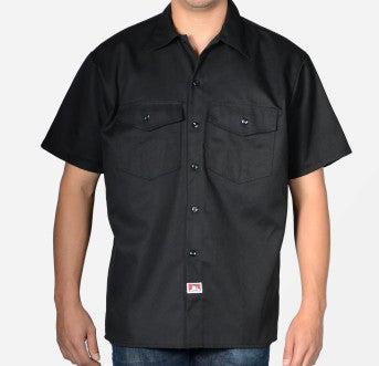 Ben Davis NEW Short Sleeved Solid Button-Up- Black