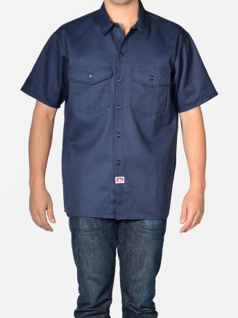 Ben Davis NEW Short Sleeved Solid Button-Up- Navy Blue