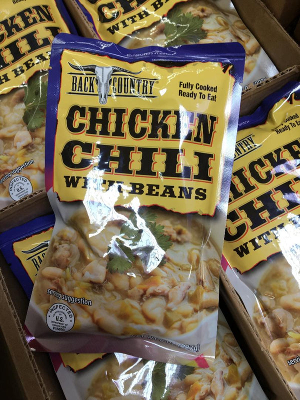 BACK COUNTRY CHICKEN CHILI WITH BEANS - (8 OZ) 3 YEAR SHELF LIFE
