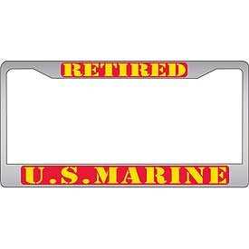 Auto License Plate Frames- Retired Marine