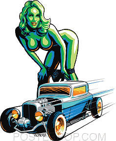Almera Hot Rod Girl Sticker