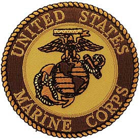 "Marines Logo Patch - 3"" Desert -FREE SHIPPING"