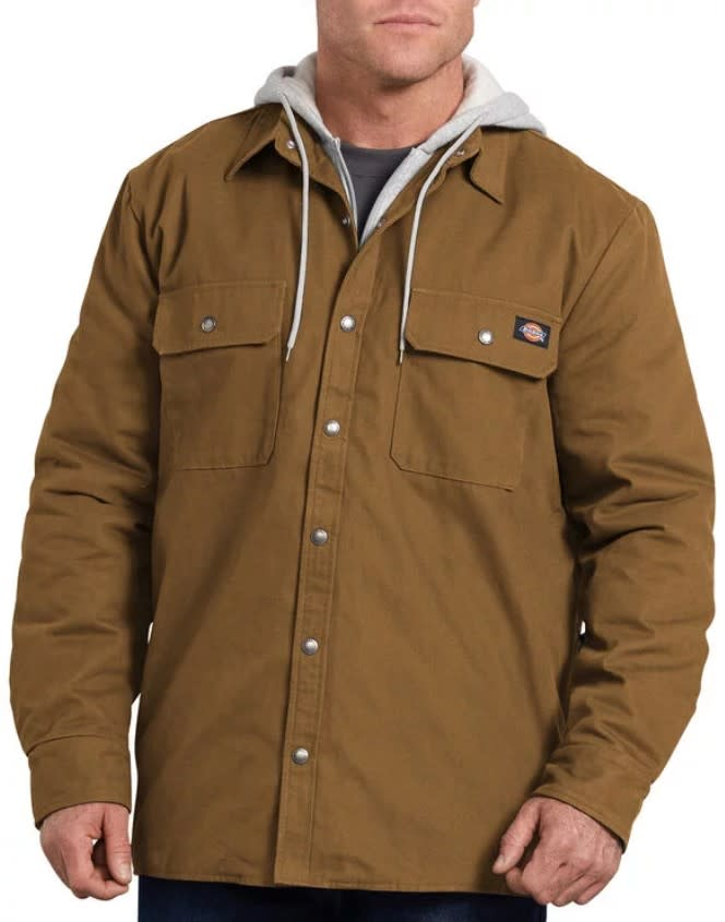 Dickies Hooded Duck Shirt Jacket- BROWN DUCK- TJ203BD