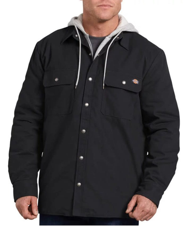 Dickies Hooded Duck Shirt Jacket- BLACK- TJ203BK