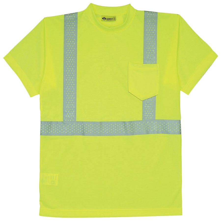 BRIGHT LIME CREW NECK SHORT SLEEVE TEE W/ HI-VIZ TAPE