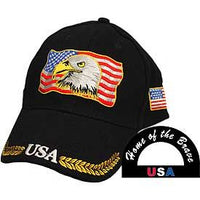 American Flag with Eagle Embroidered Cap