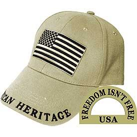 American Flag Embroidered Cap-Khaki