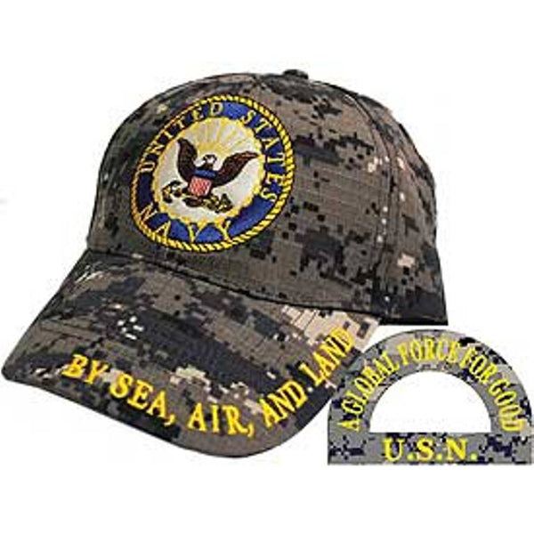 USN Logo Camo Embroidered Cap