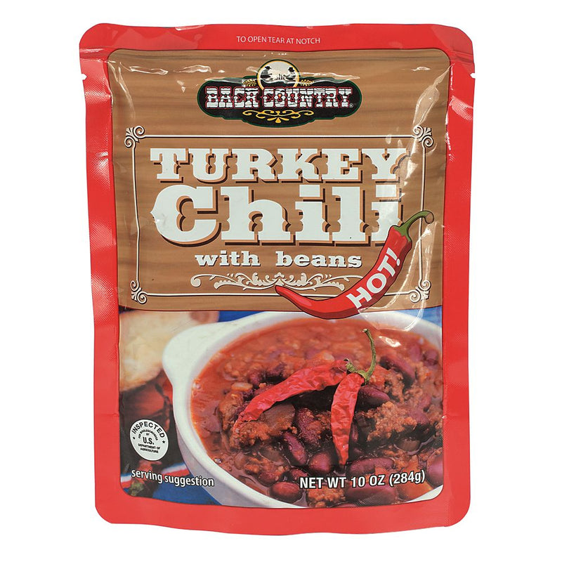 BACK COUNTRY TURKEY CHILI W/BEANS-HOT - (10 OZ)- 3 YEAR SHELF LIFE