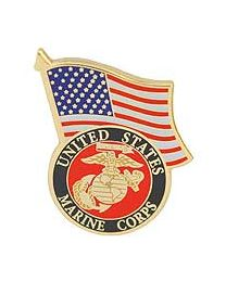 USMC LOGO,W/USA FLAG- 1 1/4""