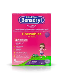 Children's Benadryl Allergy Chewable Tablets (Grape)