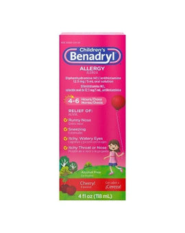Children's Benadryl Dye Free Allergy Liquid, Diphenhydramine HCl, Bubble Gum (120 ml)