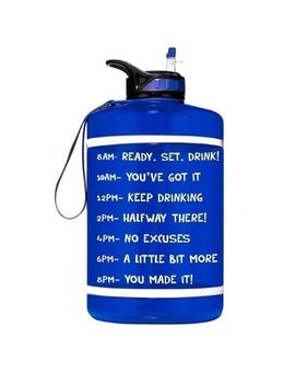 Motivational Gallon Straw Water Bottle (Blue)