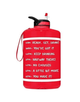 Motivational Gallon Straw Water Bottle (Red)