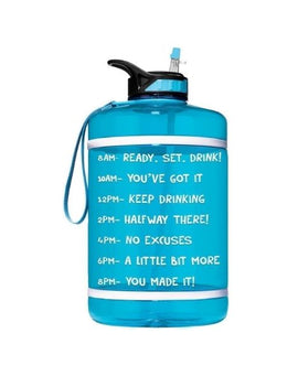 Motivational Gallon Straw Water Bottle (Turquoise)