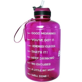 Motivational Water Bottle 73 Oz With Straw (Wine Purple)