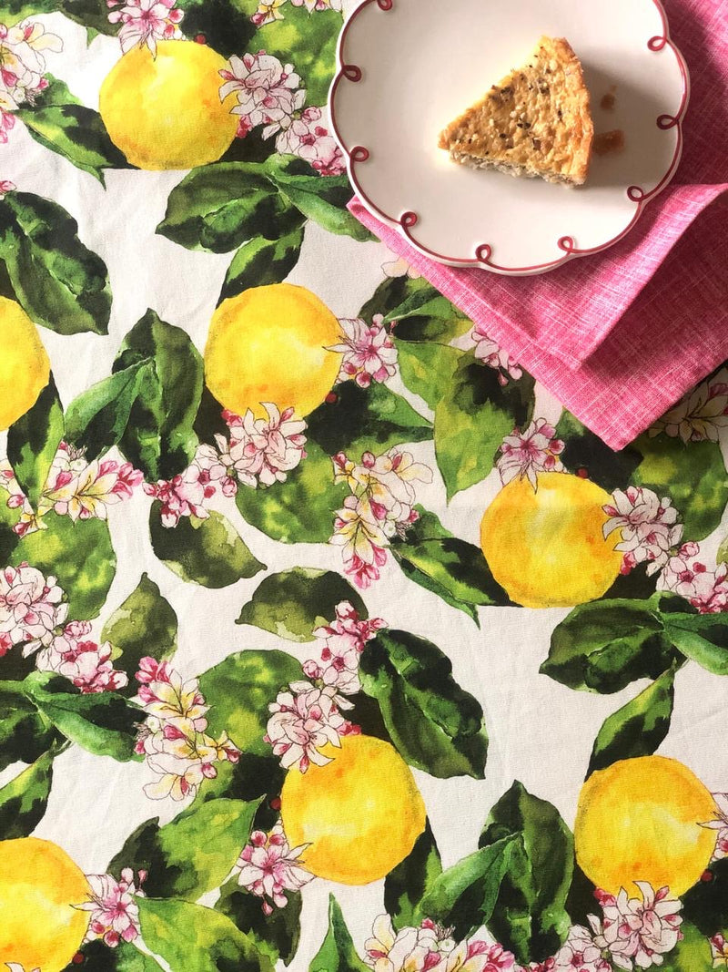 White Lemon Blossoms Table Cover