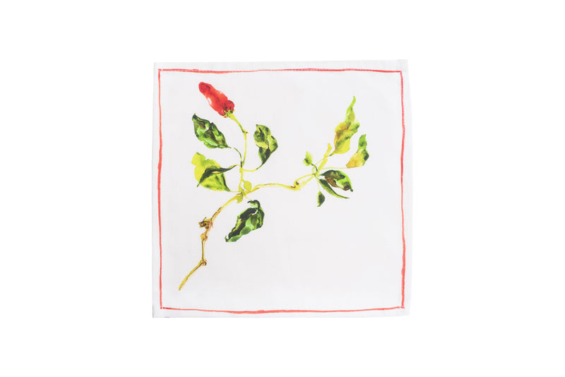 Herbs Beverage Napkin - Red Chilli