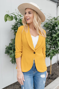 Acting Like A Lady Blazer in Mustard