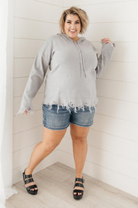 Frayed Edges Hoodie in Grey