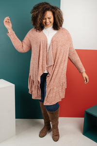 The Avalynn Heathered Cardigan in Crimson